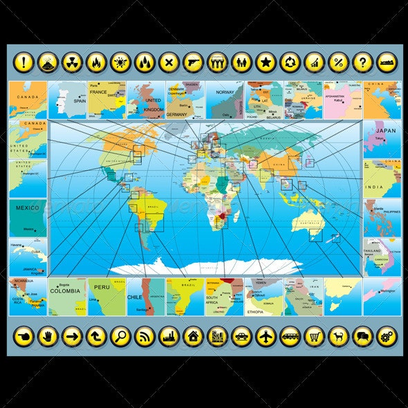 Map Elements with World Map - Concepts Business