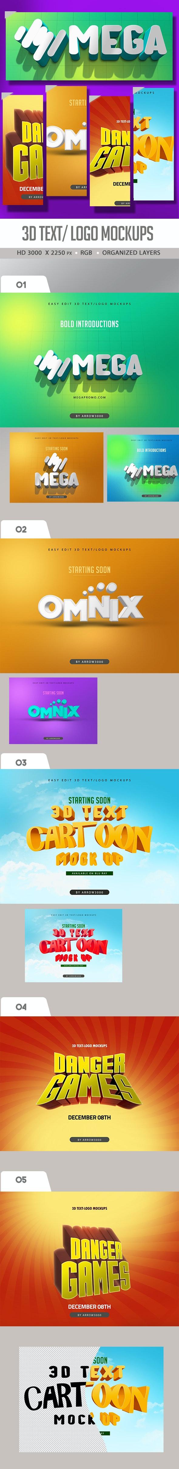 3D Text, logo Mock ups/ Cartoon Text Effects - Text Effects Actions