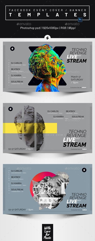 Livestream DJ Session 5 – Facebook Event Cover Templates - Social Media Web Elements