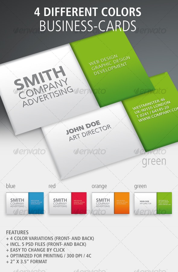 Set of 4 Plain Business Cards - Business Cards Print Templates