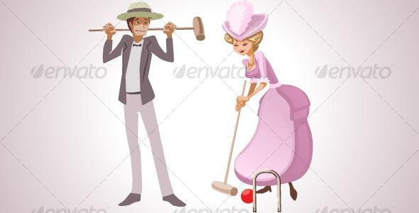 Couple playing Croquet - Characters Vectors