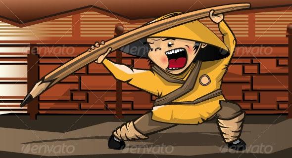 Kung fu boy - Characters Vectors