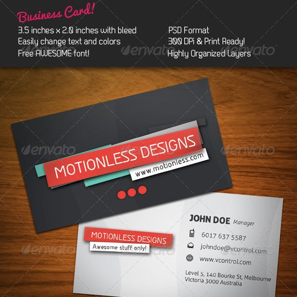 Motionless Business Card