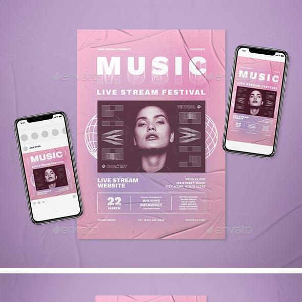Music Live Streaming Festival Flyer Set