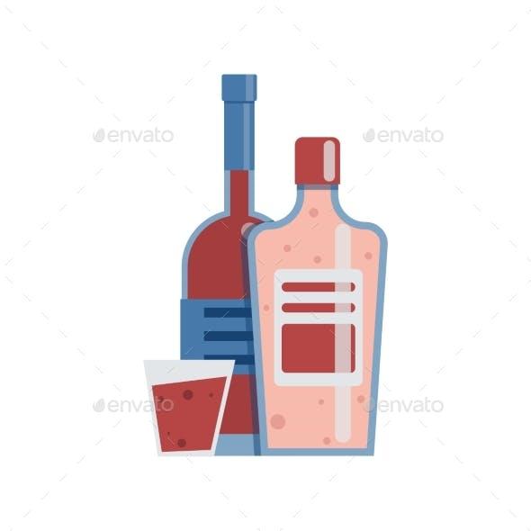Alcohol Addiction Flat Composition