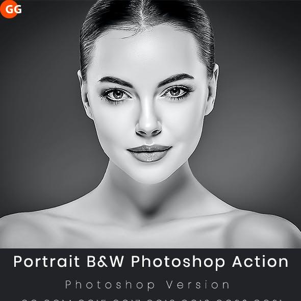 Portrait B&W Photoshop Action