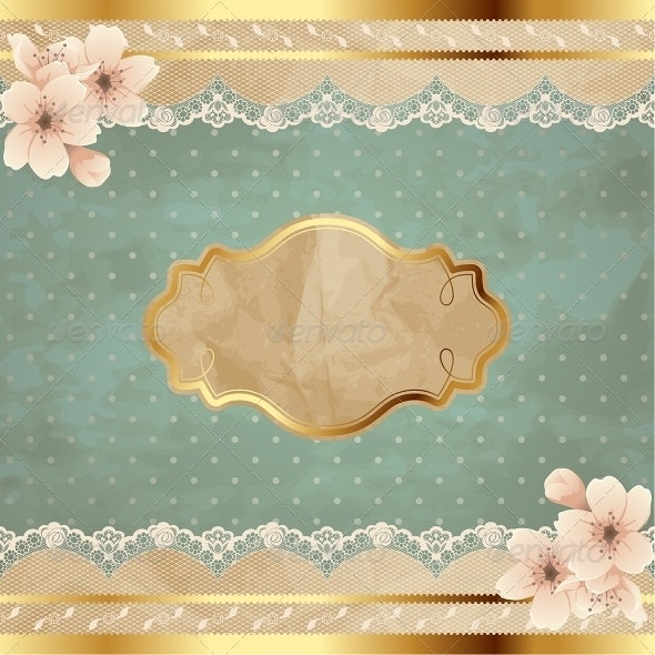 Lacy Square Banner With Flowers - Miscellaneous Seasons/Holidays