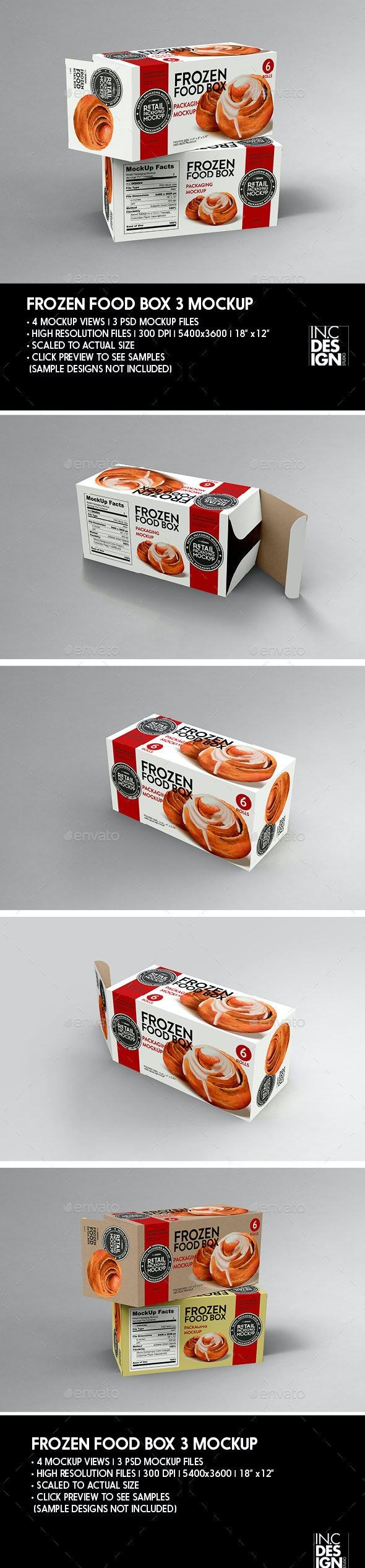 Retail Frozen Long Food Box Packaging Mockup - Packaging Product Mock-Ups