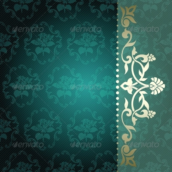 Floral Arabesque Background in Green and Gold - Backgrounds Decorative