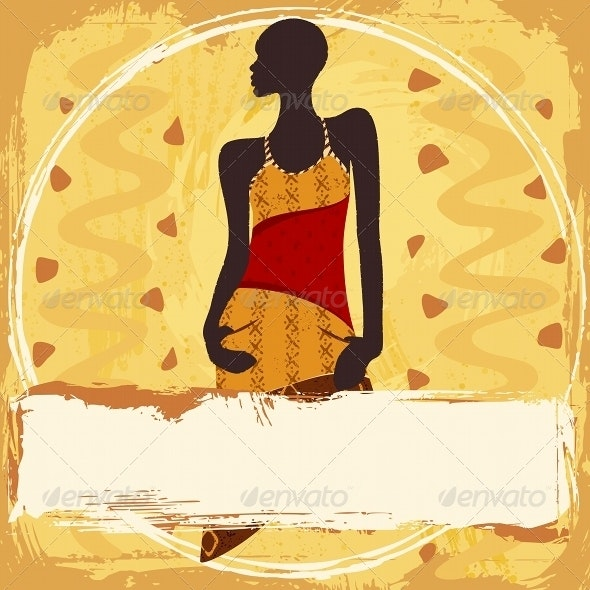 Grungy Banner With an African Woman - People Characters