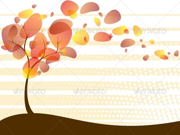 Quirky Autumn Tree Background - Seasons Nature