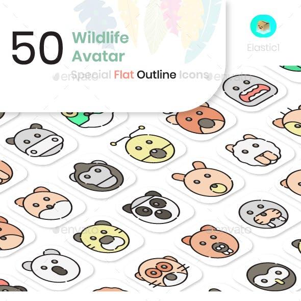 Wildlife Avatar Flat Outline Icons