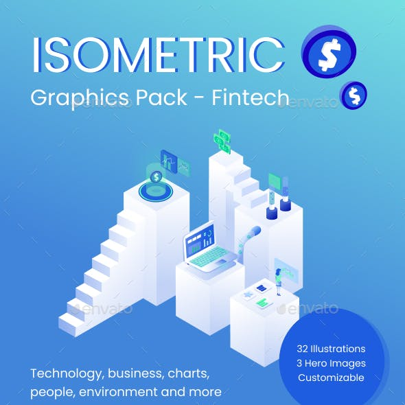 Isometric Graphics Pack - Fintech