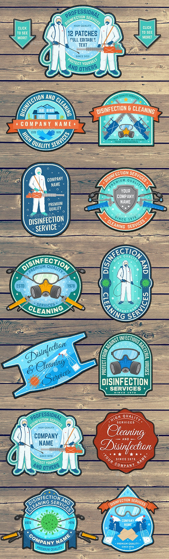 Disinfection Services Patches - Badges & Stickers Web Elements