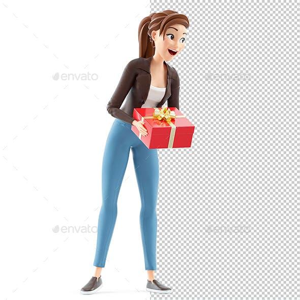 3D Cartoon Woman Offering a Gift