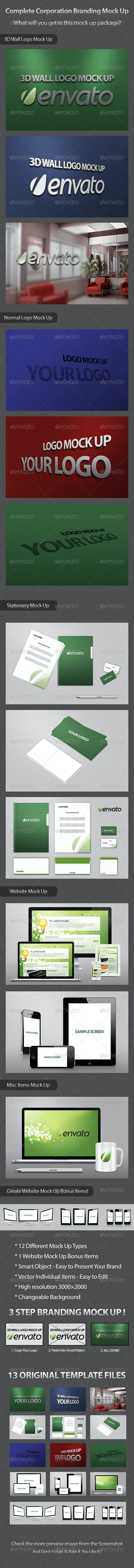 Complete Corporation Branding Mock Up - Stationery Print