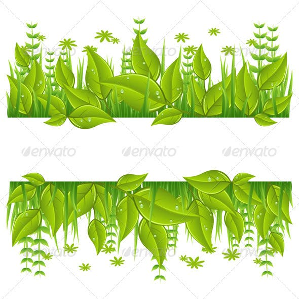 Green eco line with leafs
