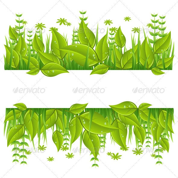 Green eco line with leafs - Nature Conceptual