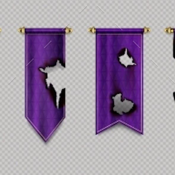 Old Burn Pennant Flags Mockup Purple Blank Banners