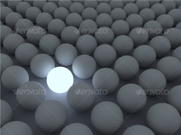 Glowing Sphere – Standing out oft the Crowd - 3D Backgrounds