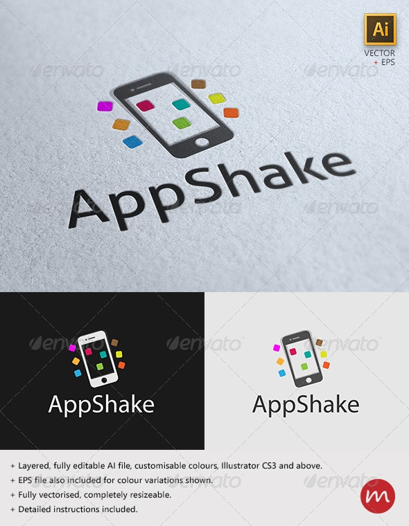 """""""AppShake"""" Fun Mobile Logo Template - Objects Logo Templates"""