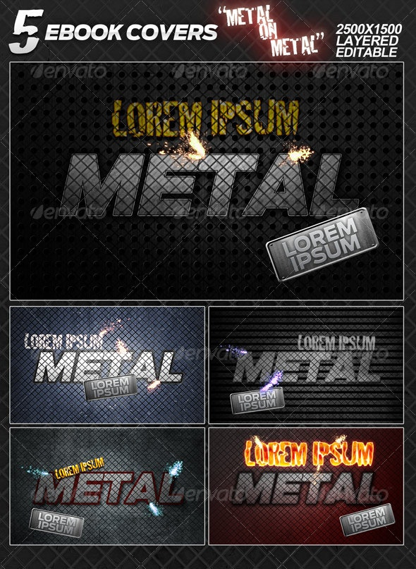 """5 eBook covers """"Metal On Metal"""" - layered - Miscellaneous Web Elements"""