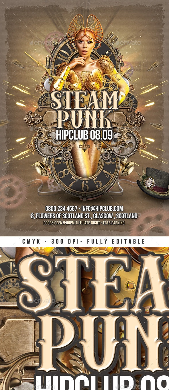 Steampunk Night Flyer Volume 3 - Clubs & Parties Events