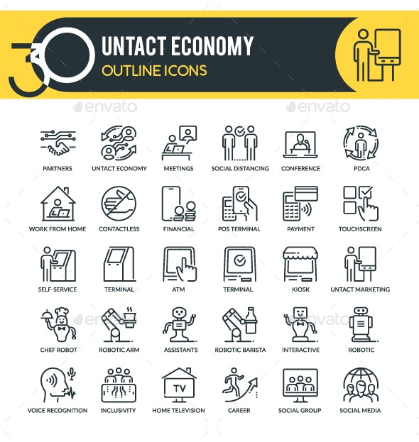 Untact Economy Outline Icons - Technology Icons
