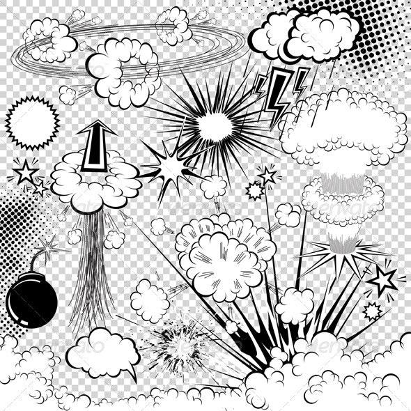 Vector comic book explosion elements - Characters Vectors