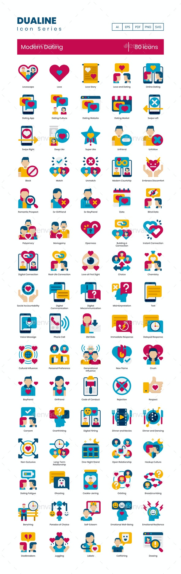 80 Modern Dating Icons | Dualine Flat Series - Icons