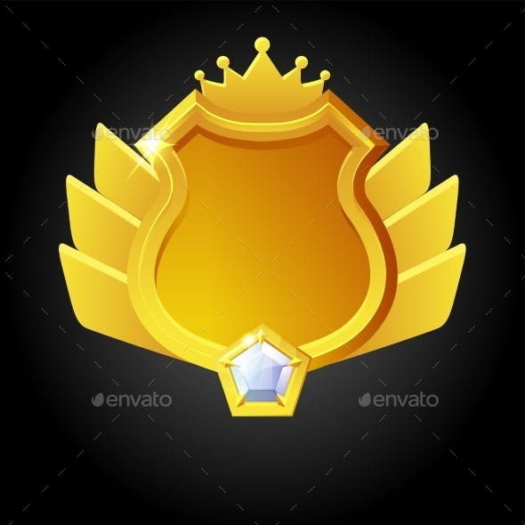 Vector Golden Shield Template for Game Achievement