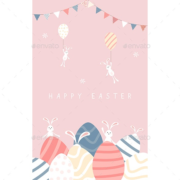 Easter Rabbits with Eggs and Pennants on Pink Sky - Miscellaneous Seasons/Holidays