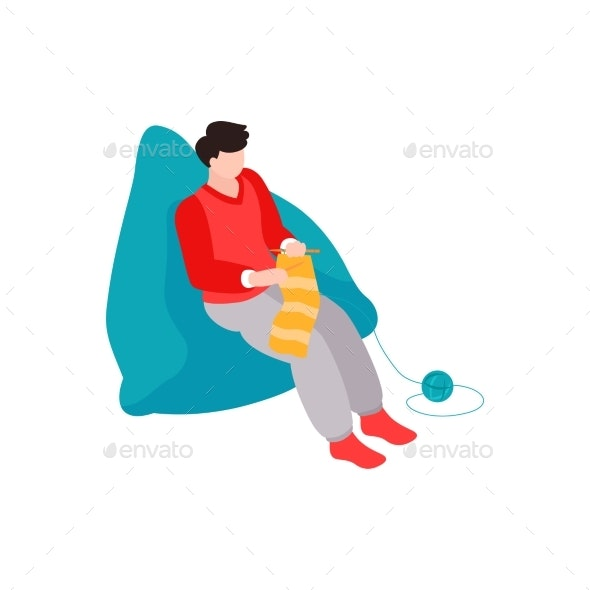 Knitting Person Isometric Composition - Objects Vectors