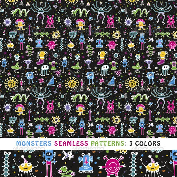 Monsters Seamless Patterns