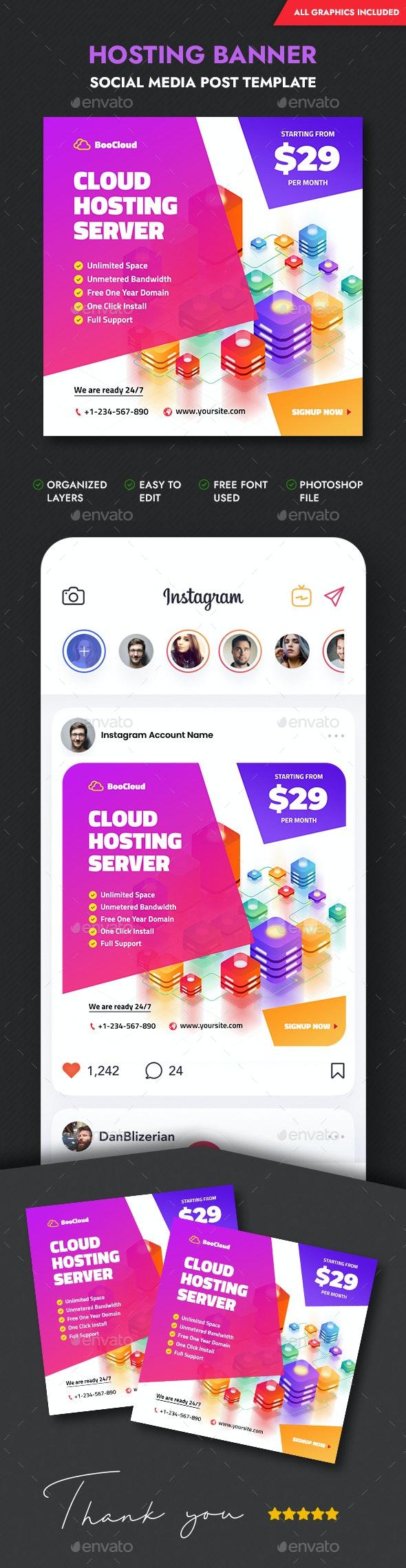 Web Hosting Social Media Banner - Social Media Web Elements