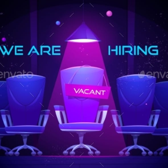 We Are Hiring Cartoon Banner with Vacant Chair