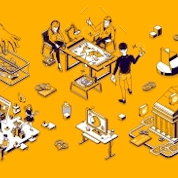 Business Isometric Landing Workplace with People