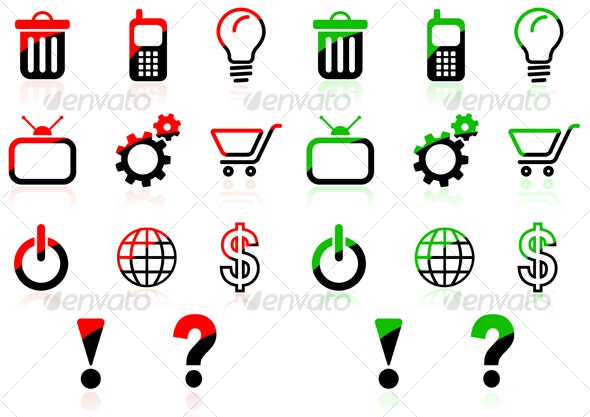 Red Green Icons - Web Icons