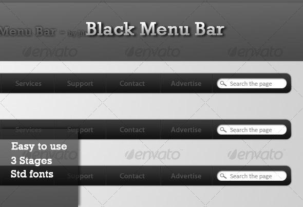 Black Menu Bar - Miscellaneous Web Elements