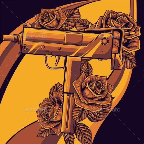 Weapont Uzi with Red Roses Vector Illustration