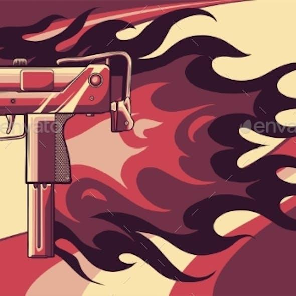 Vector Illustration of a Uzi Gun with Flames