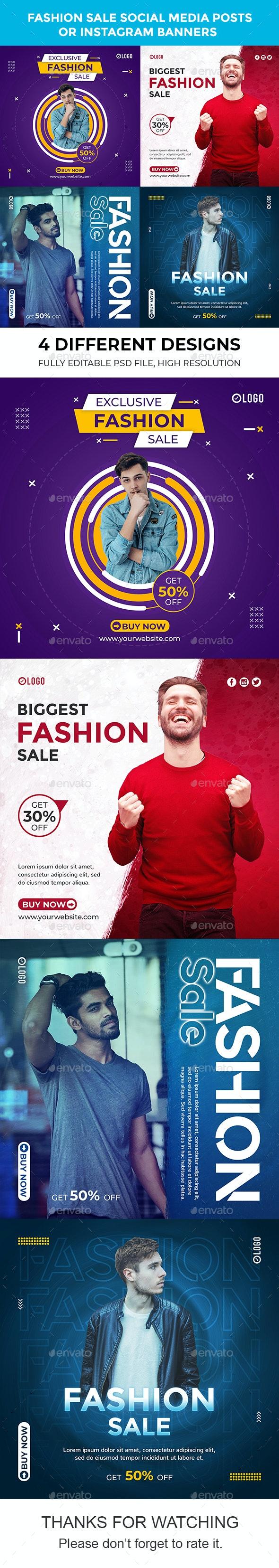 Fashion Sale Instagram Banners or Social Media Posts - Social Media Web Elements