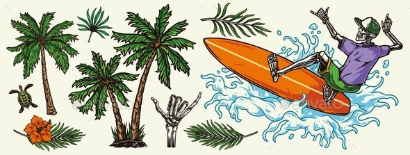 Hawaiian and Surfing Colorful Elements Concept - Nature Conceptual