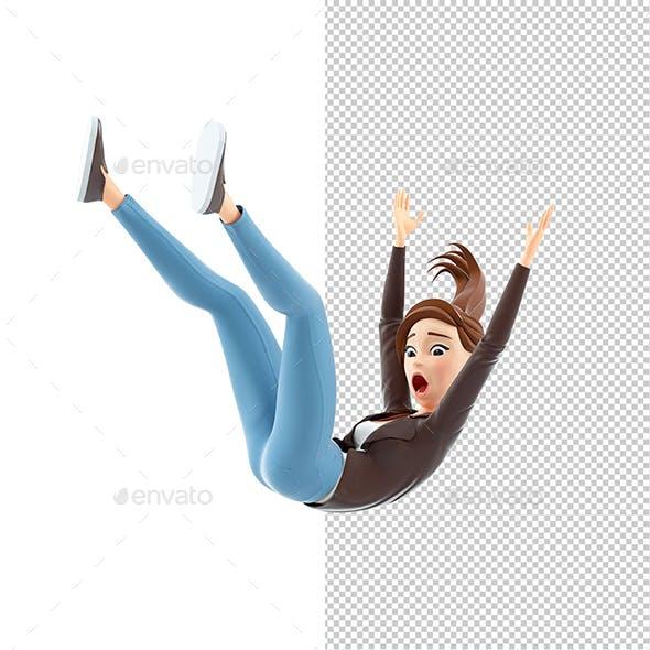 3D Cartoon Woman Falling from Height