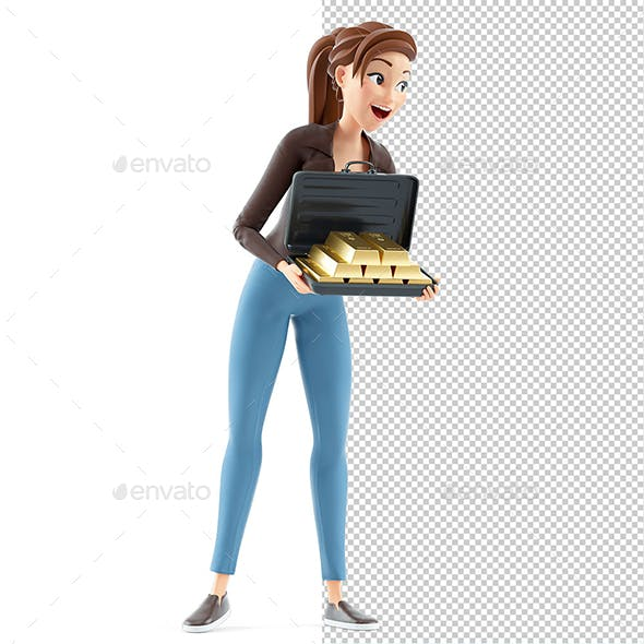 3D Cartoon Woman Holding Briefcase full of Gold Bars
