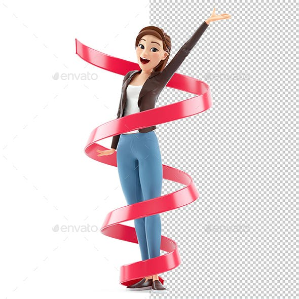 3D Happy Cartoon Woman Surrounded by Ribbon