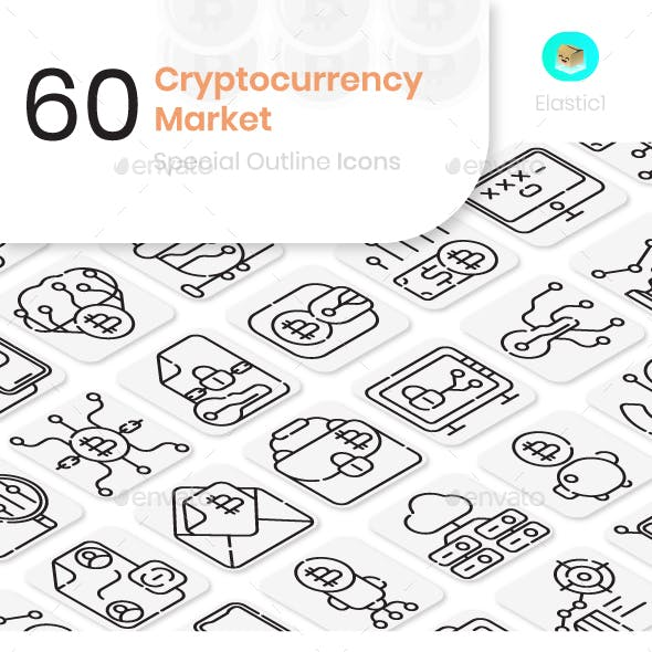 Cryptocurrency Market Outline Icons