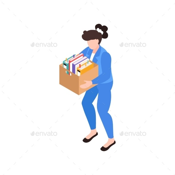 Fired Woman Box Composition - Business Conceptual