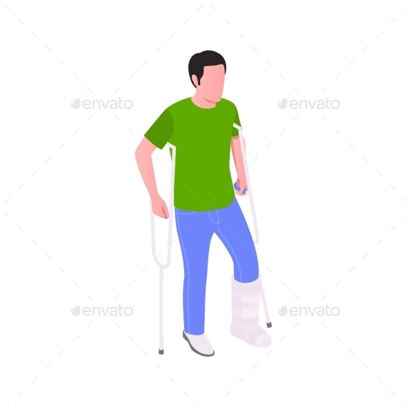 Crutch Insurance Isometric Composition - Business Conceptual