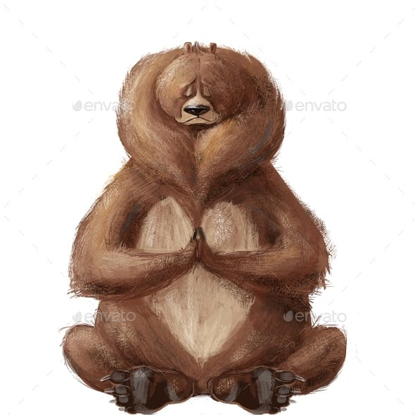 Cute Cartoon Bear Sitting in Yoga Pose